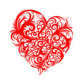 Rood bloemenhart stock illustratie
