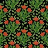 Rood bloemenpatroon Stock Foto's