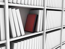 Rood boek in bibliotheek Stock Fotografie