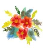 Rood boeket van bloemen die in Waterverf worden geschilderd Stock Afbeeldingen