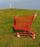 Rood boodschappenwagentje Royalty-vrije Stock Afbeelding