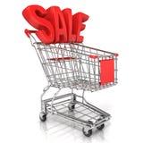 Rood boodschappenwagentje met verkoopteken Stock Fotografie