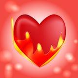 Rood brandend hart Royalty-vrije Stock Afbeelding