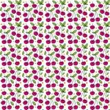 Rood Cherry Seamless Pattern Texture met Bladeren en Oranje Polka Dot Element Stock Fotografie