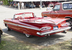 1959 Rood Chevy Impala Convertible Stock Fotografie