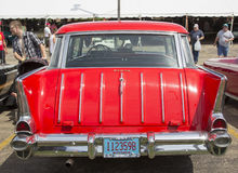1957 Rood Chevy Nomad Rear View Stock Fotografie