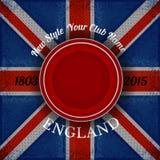 Rood cirkelkader voor uw etiket op Britse vlag grunge achtergrond Royalty-vrije Stock Fotografie