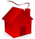 Rood 3d huis met rook Stock Fotografie
