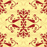Rood damastbehang Stock Foto