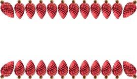 Rood de decoratiekader van denneappelkerstmis Royalty-vrije Stock Foto's
