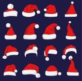 Rood de hoedensilhouet van Santa Claus Stock Afbeelding