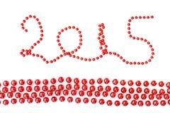 2015, rood de parelsornament van het Kerstmisklatergoud Royalty-vrije Stock Fotografie