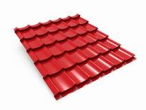 Rood de tegelblad van het metaaldak Stock Fotografie