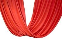 Rood die gordijn op wit, theater wordt geïsoleerd, Royalty-vrije Stock Afbeeldingen