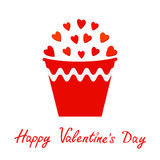 Rood die hart in emmer wordt geplaatst Giftvoorwerp bloempot op de achtergrond Gelukkig de kaart Vlak ontwerp van de Valentijnska Stock Foto's