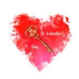 Rood die hart met sleutel op wit wordt geïsoleerd Digitale kunstillustratie met hart en sleutel Leuk beeldverhaalontwerp voor uit Stock Foto