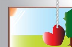 Rood die hart op het venster wordt gehangen Royalty-vrije Stock Afbeeldingen