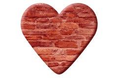 Rood die hart van grungebakstenen muur wordt gemaakt stock afbeelding