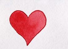Rood die hart van waterverf op een witte achtergrond wordt gemaakt Royalty-vrije Stock Foto