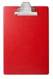 Rood die klembord met het knippen van weg wordt geïsoleerd Royalty-vrije Stock Afbeeldingen