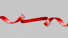 Rood die satijnlint op transparante achtergrond wordt geïsoleerd Stock Foto