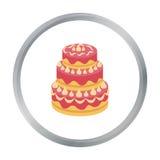 Rood die three-ply cakepictogram in beeldverhaalstijl op witte achtergrond wordt geïsoleerd De voorraad vectorillustratie van het Royalty-vrije Stock Foto