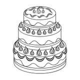 Rood die three-ply cakepictogram in overzichtsstijl op witte achtergrond wordt geïsoleerd Cakessymbool Royalty-vrije Stock Afbeelding