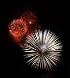Rood die vuurwerk in donkere dichte omhooggaand als achtergrond met de plaats voor tekst wordt geïsoleerd, het vuurwerkfestival v Royalty-vrije Stock Afbeelding