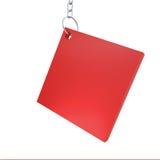 Rood doosetiket met ketting voor zout Stock Foto