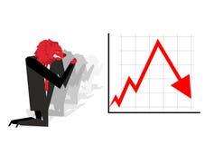 Rood draag bidt voor daling van wisselkoers Rode BenedenPijl Wor Royalty-vrije Stock Afbeelding