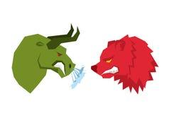 Rood draag en groene stier De handelaren op tock ruilen symbolen Confr Stock Foto