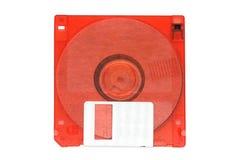 Rood 3 5-duim diskette Witte achtergrond Stock Afbeeldingen