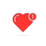 Rood eenvoudig hart zoals bericht Royalty-vrije Stock Foto's