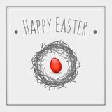 Het rode ei van Pasen Stock Afbeeldingen
