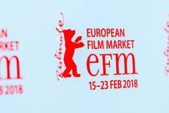 Rood embleem van de Europese de Filmmarkt 2018 van EFM Royalty-vrije Stock Foto's