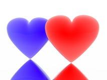 Rood en blauw hart Stock Foto