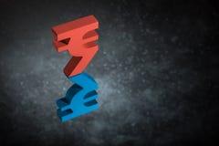 Rood en Blauw Indisch Valutasymbool met Spiegelbezinning over Donker Dusty Background royalty-vrije stock afbeeldingen