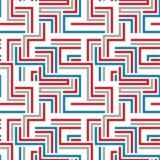 Rood en blauw labyrint naadloos patroon Stock Fotografie