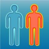 Rood en blauw menselijk silhouet Stock Afbeeldingen