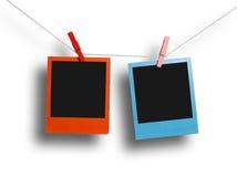 Rood en blauw polaroidkader Royalty-vrije Stock Foto's
