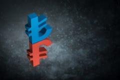 Rood en Blauw Turks Valutasymbool of Teken met Spiegelbezinning over Donker Dusty Background stock foto's