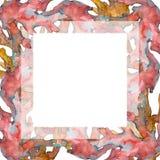 Rood en geel aquatisch aardkoraalrif Waterverf achtergrondillustratiereeks Het ornamentvierkant van de kadergrens stock foto