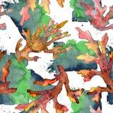 Rood en geel aquatisch onderwateraardkoraalrif De reeks van de waterverfillustratie Naadloos patroon als achtergrond royalty-vrije stock fotografie