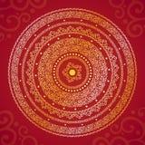 Rood en geel rond kader met ornament (vector) Stock Fotografie