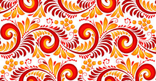 Rood en geel wervelingen en bessen naadloos patroon in Russische khokhlomastijl Royalty-vrije Stock Foto's
