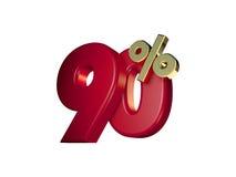 90% in Rood en gouden Stock Afbeelding