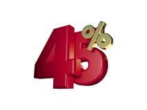 45% in Rood en gouden Royalty-vrije Stock Afbeelding