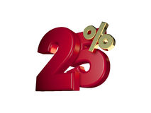 25% in Rood en gouden Royalty-vrije Stock Foto