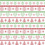 Rood en groen op het witte achtergrond Noordse Kerstmispatroon met sneeuwvlokken en de bos decoratieve ornamenten van Kerstmisbom Royalty-vrije Stock Afbeeldingen