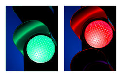Rood en groen verkeerslicht Stock Foto's